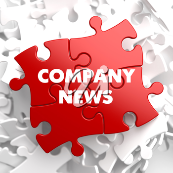 Company News on Red Puzzle on White Background.