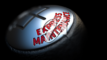 Express Maintenance. Shift Knob with Red Text on Black Background. Close Up View. Selective Focus. 3D Render.
