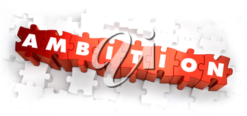 Ambition - White Word on Red Puzzles on White Background. 3D Illustration.