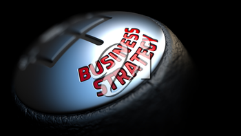 Business Strategy. Shift Knob with Red Text on Black Background. Close Up View. Selective Focus. 3D Render.