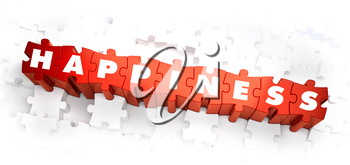 Happiness - Text on Red Puzzles with White Background. 3D Render.