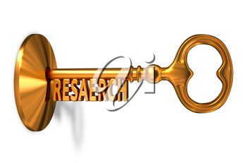 Research - Golden Key is Inserted into the Keyhole Isolated on White Background