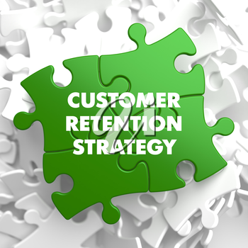 Customer Retention Strategy on Green Puzzle on White Background.
