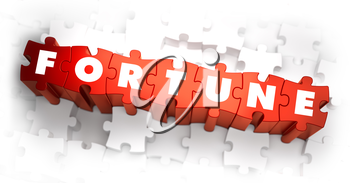 Fortune - Text on Red Puzzles with White Background. 3D Render.