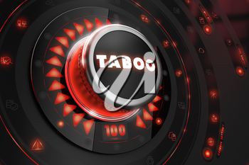 Taboo Controller on Black Control Console with Red Backlight. Danger or Risk Control Concept.