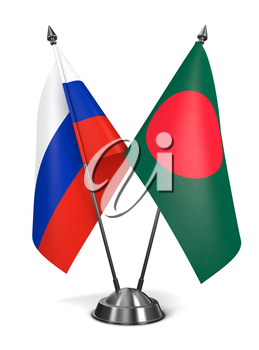 Russia and Bangladesh - Miniature Flags Isolated on White Background.