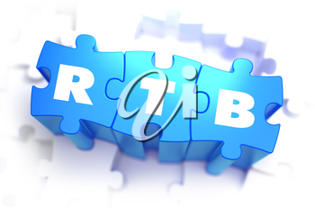 RTB  -  Real Time Bidding - White Text on Blue Puzzles and Selective Focus. 3D Render.