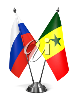 Russia and Senegal - Miniature Flags Isolated on White Background.