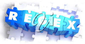 Regex - Text on Blue Puzzles on White Background. 3D Render.