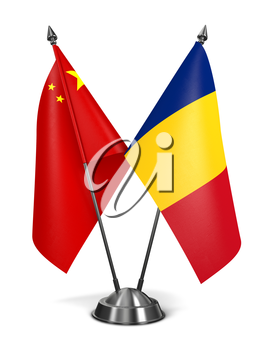 China and Romania - Miniature Flags Isolated on White Background.