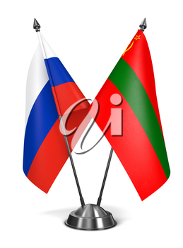 Russia and Transnistria - Miniature Flags Isolated on White Background.