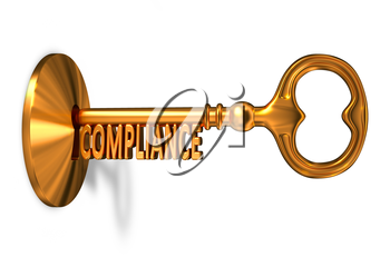 Compliance - Golden Key is Inserted into the Keyhole Isolated on White Background