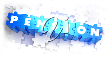 Pension - Text on Blue Puzzles on White Background. 3D Render.