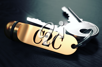 C2C - Customer to Customer - Concept. Keys with Golden Keyring on Black Wooden Table. Closeup View, Selective Focus, 3D Render. Toned Image.