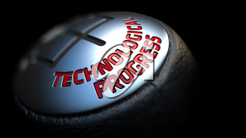 Technological Progress - Red Text on Black Gear Shifter with Leather Cover. Close Up View. Selective Focus.