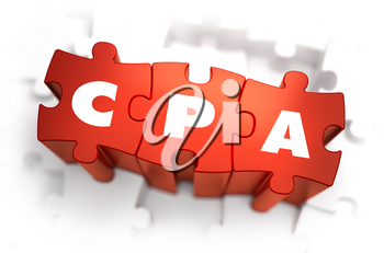 CPA - Cost Per Action - White Word on Red Puzzles on White Background. 3D Illustration.