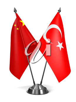 China and Turkey - Miniature Flags Isolated on White Background.