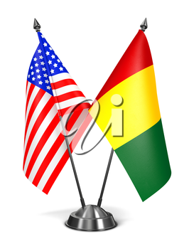 USA and Guinea - Miniature Flags Isolated on White Background.