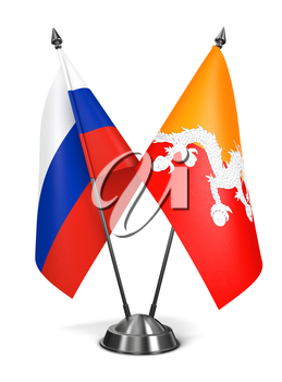 Russia and Bhutan - Miniature Flags Isolated on White Background.