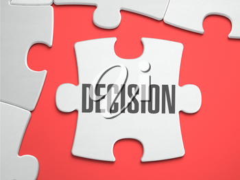 Decision Text on Puzzle on the Place of Missing Pieces. Scarlett Background. Close-up. 3d Illustration.