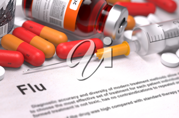 Diagnosis - Flu. Medical Concept with Red Pills, Injections and Syringe. Selective Focus. 3D Render.