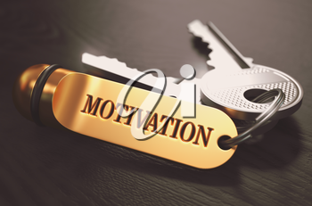 Keys to Motivation - Concept on Golden Keychain over Black Wooden Background. Closeup View, Selective Focus, 3D Render. Toned Image.