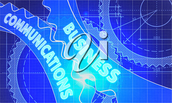 Business Communications on the Mechanism of Cogwheels. Technical Blueprint illustration with Glow Effect. 3D Render.
