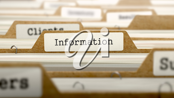 Information Concept. Word on Folder Register of Card Index. Selective Focus.