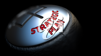 Strategic Plan. Gear Shift with Red Text on Black Background. Selective Focus. 3D Render.