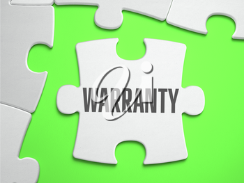 Warranty  - Jigsaw Puzzle with Missing Pieces. Bright Green Background. Close-up. 3d Illustration.