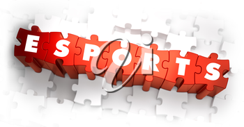 eSports  - White Word on Red Puzzles on White Background. 3D Illustration.
