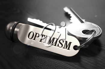Optimism Concept. Keys with Keyring on Black Wooden Table. Closeup View, Selective Focus, 3D Render. Black and White Image.