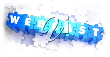 Webcast - White Word on Blue Puzzles on White Background. 3D Illustration.