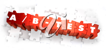 AB-Test - Text on Red Puzzles with White Background. 3D Render.