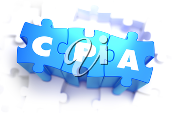 CPA - Cost Per Action - White Word on Blue Puzzles on White Background. 3D Render.