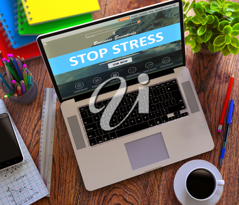 Stop Stress on Laptop Screen. Office Working Concept.