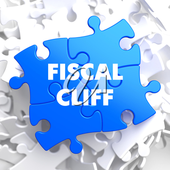 Fiscal Cliff on Blue Puzzle on White Background.
