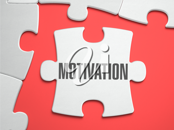 Motivation - Text on Puzzle on the Place of Missing Pieces. Scarlett Background. Close-up. 3d Illustration.