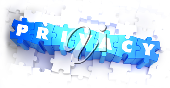 Privacy - Text on Blue Puzzles on White Background. 3D Render.