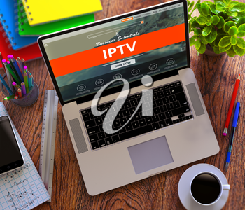 IPTV - Internet Protocol Television - on Laptop Screen. Office Working Concept.