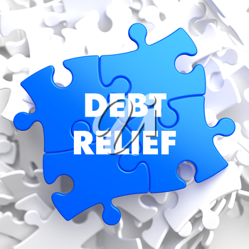 Debt Relief on Blue Puzzle on White Background.