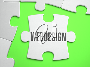 WebDesing - Jigsaw Puzzle with Missing Pieces. Bright Green Background. Close-up. 3d Illustration.
