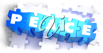 Peace - Text on Blue Puzzles on White Background. 3D Render.