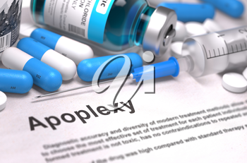 Diagnosis - Apoplexy. Medical Concept with Blue Pills, Injections and Syringe. Selective Focus. Blurred Background.