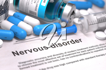 Nervous Disorder. Medical Report with Composition of Medicaments - Blue Pills, Injections and Syringe. Blurred Background with Selective Focus.