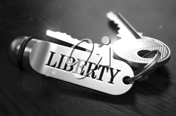 Liberty Concept. Keys with Keyring on Black Wooden Table. Closeup View, Selective Focus, 3D Render. Black and White Image.