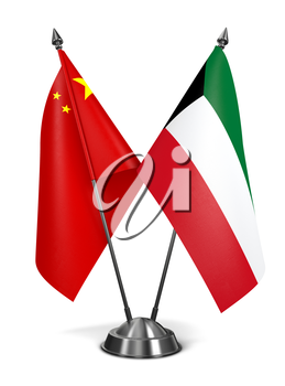 China and Kuwait - Miniature Flags Isolated on White Background.