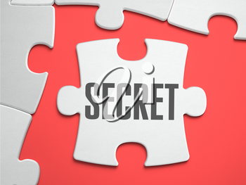 Secret - Text on Puzzle on the Place of Missing Pieces. Scarlett Background. Close-up. 3d Illustration.