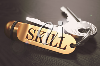 Skill - Bunch of Keys with Text on Golden Keychain. Black Wooden Background. Closeup View with Selective Focus. 3D Illustration. Toned Image.