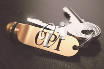 CPI - Consumer Price Index - Bunch of Keys with Text on Golden Keychain. Black Wooden Background. Closeup View with Selective Focus. 3D Illustration. Toned Image.